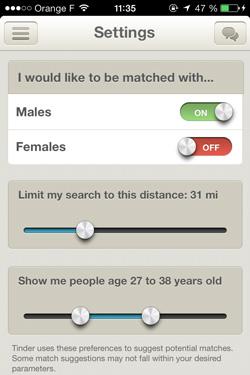 écran des paramètres de Tinder