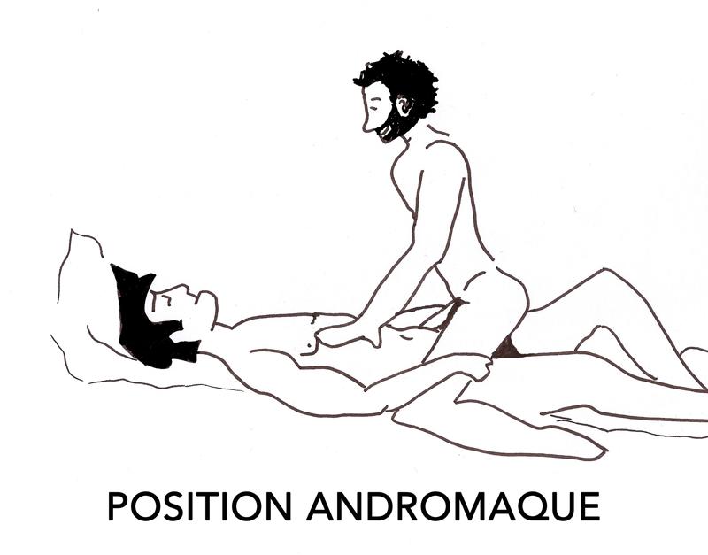 Illustration en noir et blanc de deux hommes qui pratique la position de l'andromaque. Un homme est allongé et un autre à califourchon assis sur son sexe