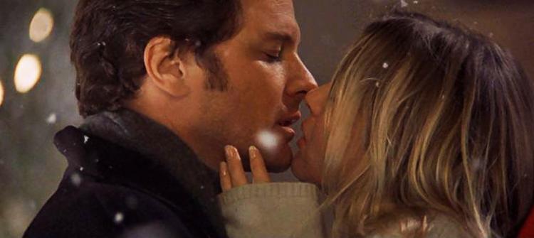mark darcy et bridget jones s'embrasse sous la neige