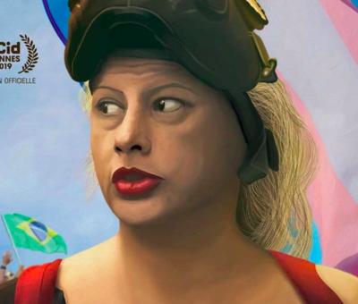 portrait d'Indianara en couleur sur l'affiche du documentaire