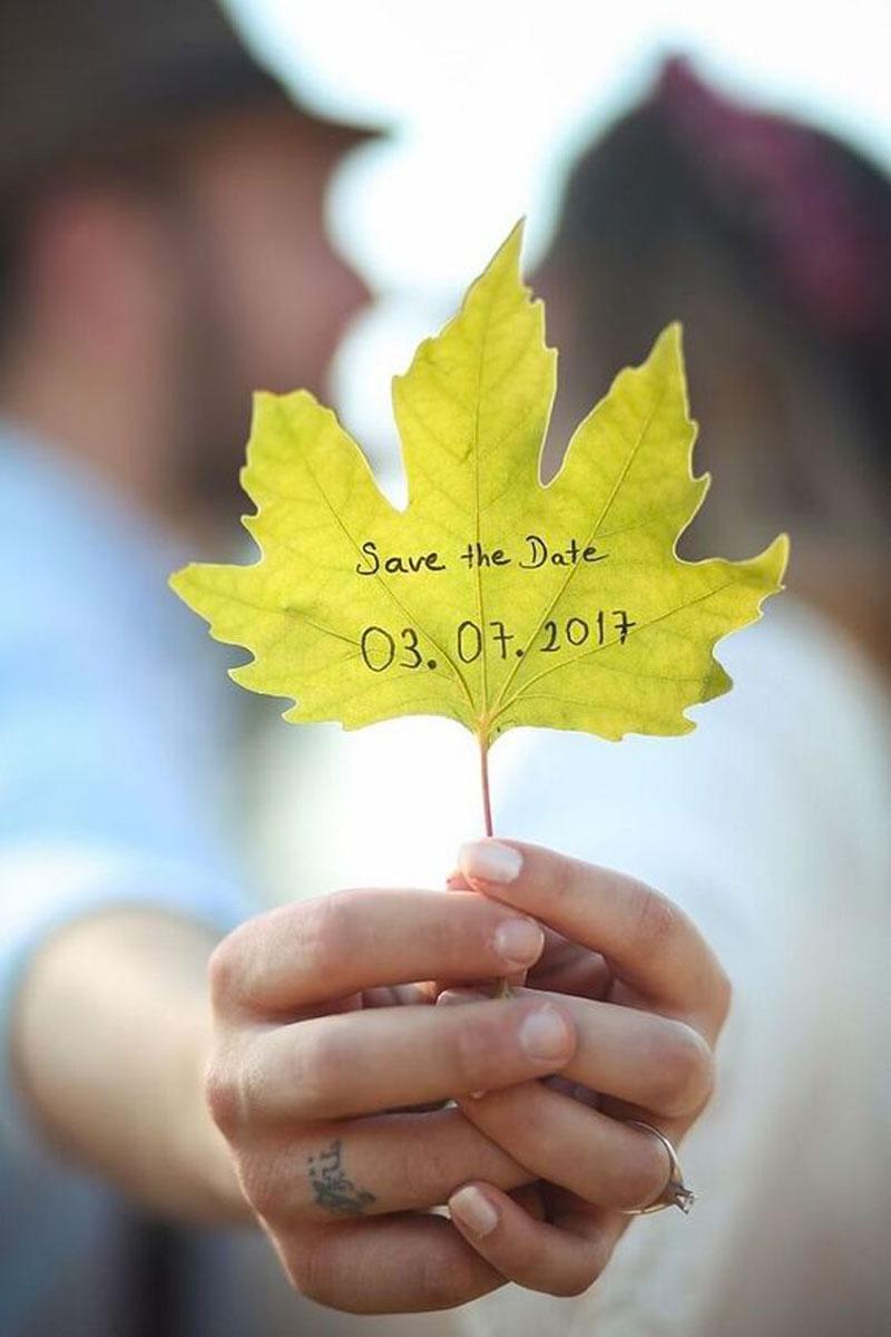 couple s'embrasse avec feuille d'arbre dans la main sur laquelle il y a une date